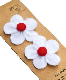 Pigtails & Ponys Felt Flower Clips- White & Red