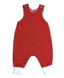Kadambaby Sleeveless Dungarees Hearts Print - Red