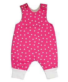 Kadambaby Sleeveless Dungarees Hearts Print - Pink