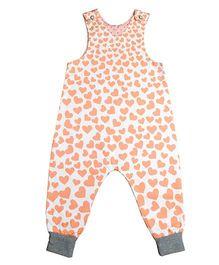 Kadambaby Sleeveless Dungarees Hearts Print - Peach