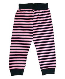 Kadambaby Full Sleeves Night Suit Stripes Print - Pink Black