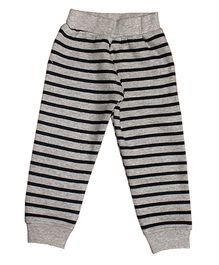 Kadambaby Full Sleeves Night Suit Stripes Print - Grey Black