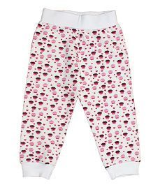Kadambaby Full Sleeves Night Suit Cupcake Print - Pink & White