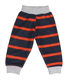 Kadambaby Full Sleeves Night Suit Stripes Print - Orange & Black