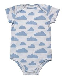 Kadambaby Short Sleeves Onesies Cloud Print - Blue