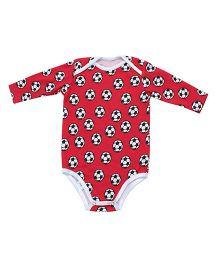 Kadambaby Full Sleeves Onesie Printed - Red White
