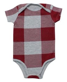 Kadambaby Half Sleeves Onesie Checks Design - Maroon Grey