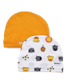 Babyhug Caps Printed & Plain Pack Of 2 - Orange White