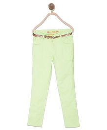 612 League Full Length Plain Pants With Belt - Green