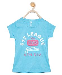 612 League Short Sleeves Top Text Print - Light Blue