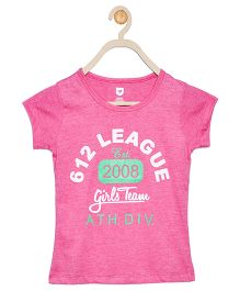 612 League Short Sleeves Top Text Print - Pink