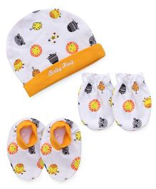 Babyhug Printed Cap Mittens And Booties Set - White Orange