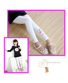 Aakriti Creations Puppy Embosed Leggings - White