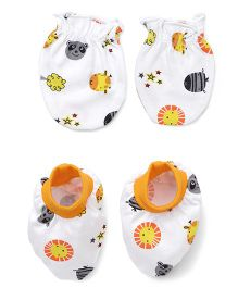 Babyhug Mittens & Booties Set Allover Print - White & Orange