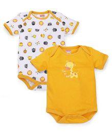 Babyhug Half Sleeves Onesie Animal Printed Pack Of 2 - White Yellow