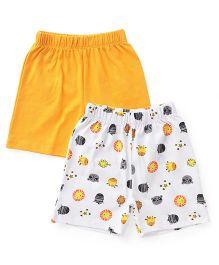 Babyhug Shorts Animal Print And Plain Pack Of 2 - Orange White
