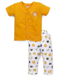 Babyhug Half Sleeves Night Suit Animal Print - Yellow White