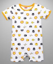 Babyhug Short Sleeve Allover Printed Romper - Yellow White
