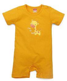 Babyhug Half Sleeves Romper Giraffe Print - Orange