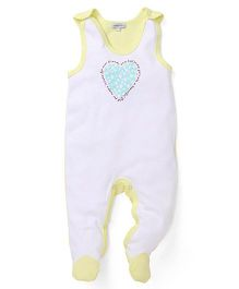 Mothers Choice Sleeveless Footed Romper Heart Design - White & Lemon
