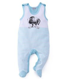 Mothers Choice Sleeveless Stripe Footed Romper Puppy Print - Light Blue