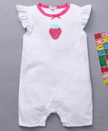 Mothers Choice Flutter Sleeves Dotted Romper Strawberry Print - White