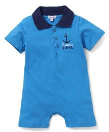 Mothers Choice Short Sleeves Romper Anchor Embroidery - Sky Blue