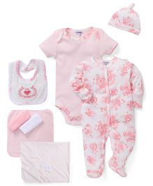 Mothers Choice 9 Piece Clothing Combo Set Floral Print - White & Pink