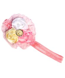 D'chica Flower Rosettes & Pearl Daimond Hairband - Pink