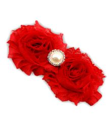 D'chica Shabby Chic Flower Headband - Red