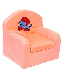 Luvely Kids Sofa Chair Dog Embroidery - Peach