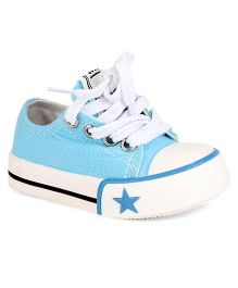 Cute Walk by Babyhug Casual Canvas Lace Up Shoes - Aqua Blue