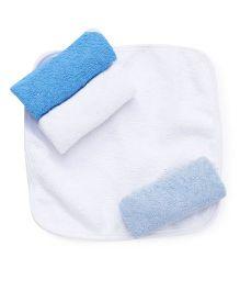 Wonderchild Soft Baby Wash Cloth Pack of 4 - Blue & White