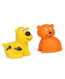 Giggles Animal Shaped Squeaky Bath Toys Pack of 2 - Yellow Orange