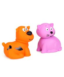 Giggles Animal Shaped Squeaky Bath Toys Pack of 2 - Purple Orange