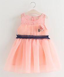 Aww Hunnie Lace Work Flower Applique Tutu Dress - Pink