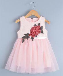 Aww Hunnie Flower Patch Work Tutu Dress - Pink