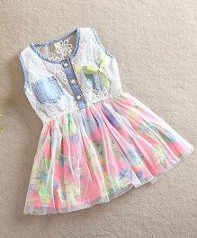 Aww Hunnie Laced Floral Dress - Multicolour