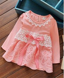 Aww Hunnie Cut Work Dress With Ribbon Bow - Peach