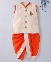 Swini's Baby Wardrobe Brocade Kurta Jacket & Contrast Dhoti With A Patch Work - Cream & Orange