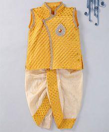 Swini'S Baby Wardrobe Brocade Kurta Jacket & Contrast Dhoti With A Patch Work - Yellow & Cream