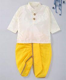 Swini'S Baby Wardrobe Contrast Kurta & Dhoti - Cream & Yellow