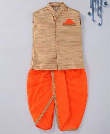 Swini'S Baby Wardrobe Brocade Kurta Jacket & Contrast Dhoti With A Illusion Pocket Square - Gold & Orange