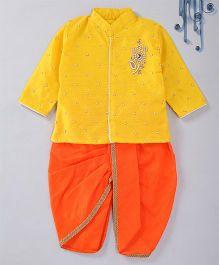 Swini'S Baby Wardrobe Contrast Kurta & Dhoti - Yellow & Orange