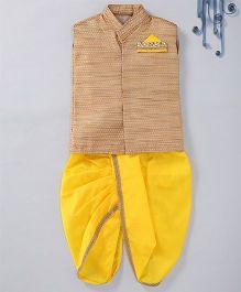 Swini'S Baby Wardrobe Brocade Kurta Jacket & Contrast Dhoti With A Illusion Pocket Square - Gold & Yellow