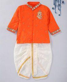 Swini's Baby Wardrobe Contrast Kurta & Dhoti With A Patch Work - Orange & White