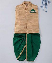 Swini's Baby Wardrobe Brocade Kurta Jacket & Contrast Dhoti With A Illusion Pocket Square - Gold & Green