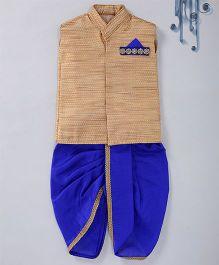 Swini'S Baby Wardrobe Brocade Kurta Jacket & Contrast Dhoti With A Illusion Pocket Square - Gold & Blue