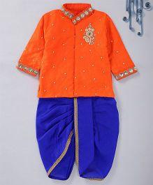 Swini's Baby Wardrobe Contrast Kurta & Dhoti With A Patch Work - Orange & Blue