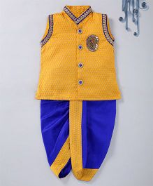 Swini'S Baby Wardrobe Brocade Kurta Jacket & Contrast Dhoti With A Patch Work - Yellow & Blue